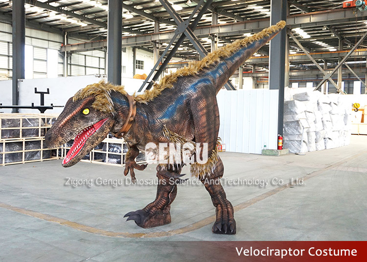 Amusement park attractive robotic dinosaur costume