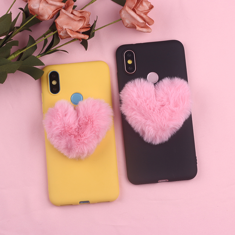 For Xiaomi Mi Note 5 6 7 8 9 lite Pro Plus Fluffy Fur Heart Pom Pom Soft Candy Silicone Phone Case Capa Fundas Coque