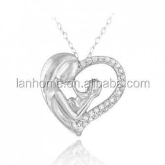 Platinum Plating Mother Holding Baby Heart Jewelry Sterling Silver Pendant