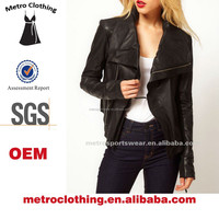 2015 Clothing manufacturer Custom made Lady black colour Drape Collar Fitted Leather Jacket