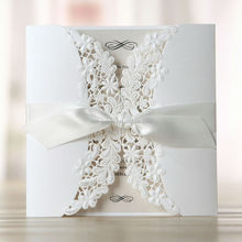 Embossing texture royal elegant wedding invitation card with ribbon