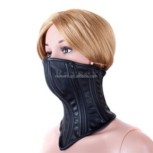 2017 newest Sex Adult Collars PU Leather Bondage Collar Masks Locking Buckle Fetish Slave Neck Cuffs Restraints Sex Products