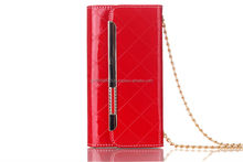 Fashion high quality Leather handbags /wallet case with chain/credit 5colors for Iphone6