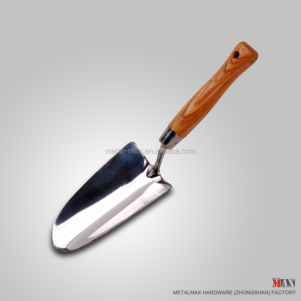 Wholesale rugged stainless steel garden tool spade sturdy wooden handle hand trowel