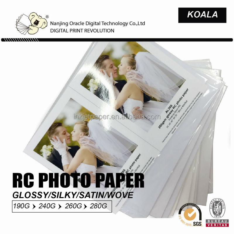 190g/ 240g/260g waterproof inkje glossy/silky/satin professional RC digital photo paper