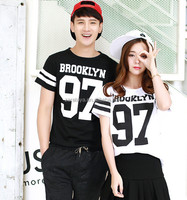 fashion couple t-shirts 2013 cotton o-neck lover t-shirts wholesale clothes appreal tee with pattern
