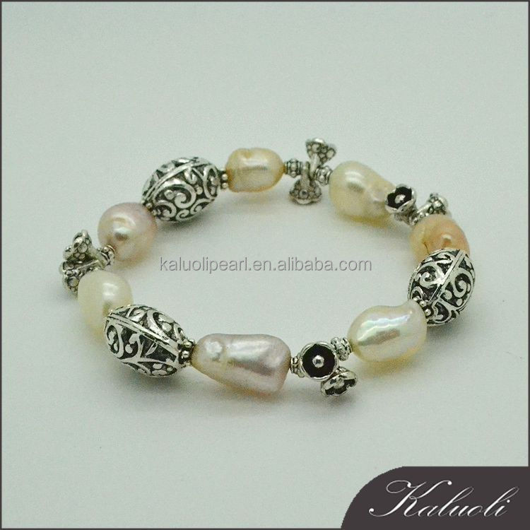 New vintage trendy baroque pearl bracelet thai silver jewelry