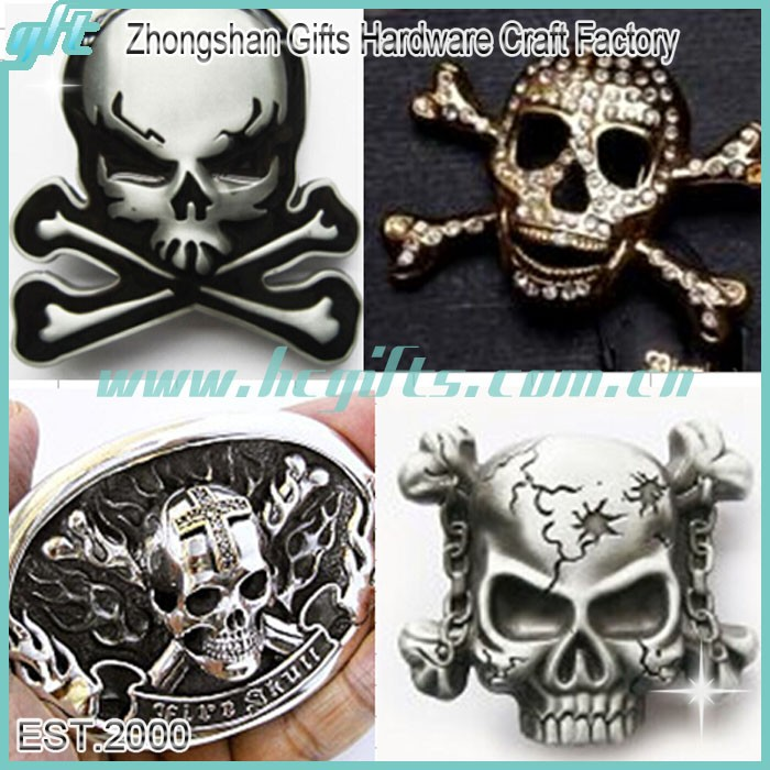 Customized skull design cool antique silver cowboy belt buckle for men