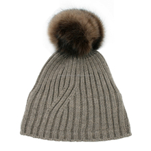 Men's jacquard striped knit beanie hat with fake fur ball on top