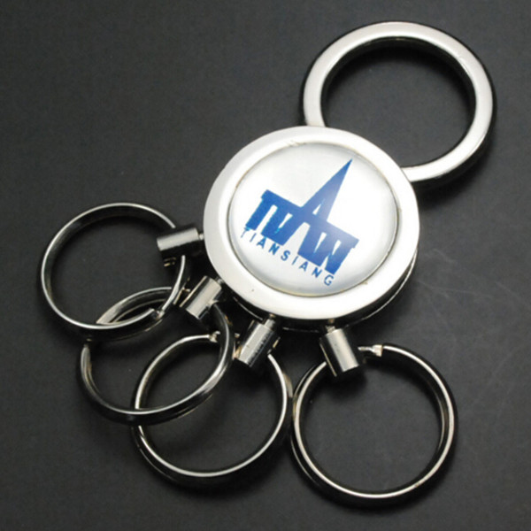 Fashion customized epoxy personal logo custom multi ring keychain