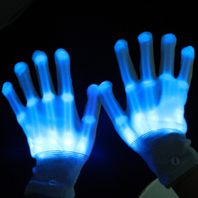 wholesale multicolor led light up skeleton running gloves
