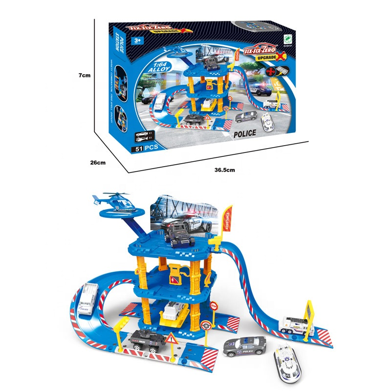 Three Layers Pretend Toy Parking Garage Play Set With Alloy Car