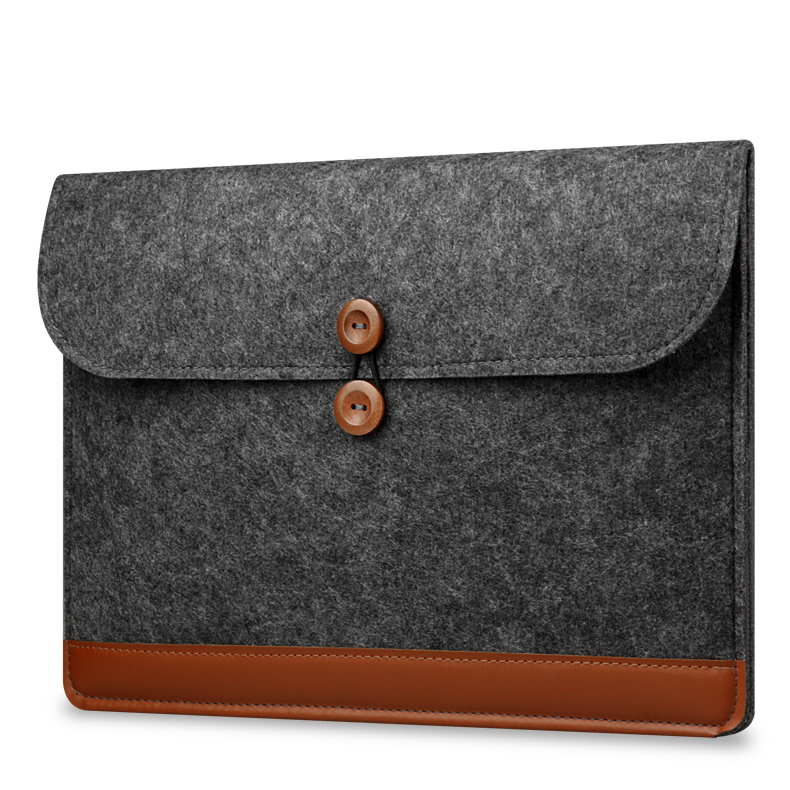 Buckle tablet Carry Pouch Bag for macbook air 11inch Leather felt sleeve bag for macbook 11inch BB-0008