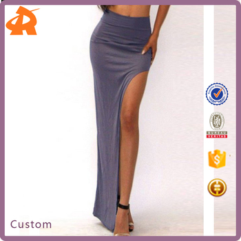 2017 OEM Design Women Sexy Skirt Packet Buttocks Side Slit Long Skirt