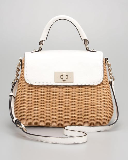 Decorative wicker handbag with white leather