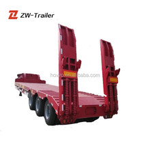 3 axle 60Ton lowbed semi trailer dolly trailer hydraulic ramp low bed trailer for sale in Mexico