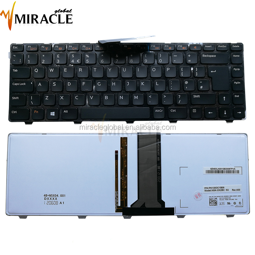 Replacement keyboard for dell n4110 UK layout black laptop backlit keyboard