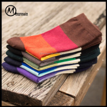 Morewin wholesale custom brand free shipping fashion men stripe style dress socks