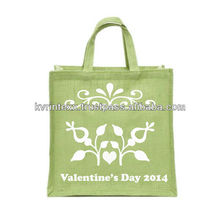 Floral Printed Jute bag with Fancy twisted cotton handle
