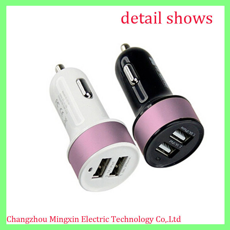 High quality portable universal dual usb car charger for all mobile phone