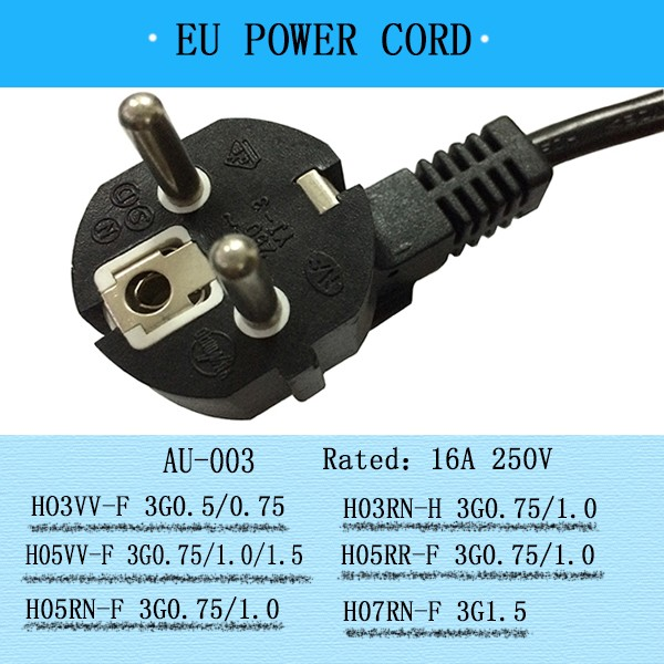 European style portable small appliances power supply cord,VDE small retractable cord reels 250v to 110v plug adapter power cord