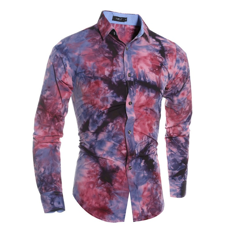 Screen Printing Flower Pattern Slim Fit Casual Style Hawaii Softtextile Men Snap Collar Shirts
