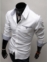 100% cotton high quality slim fit long sleeve button down collar men formal dress shirts