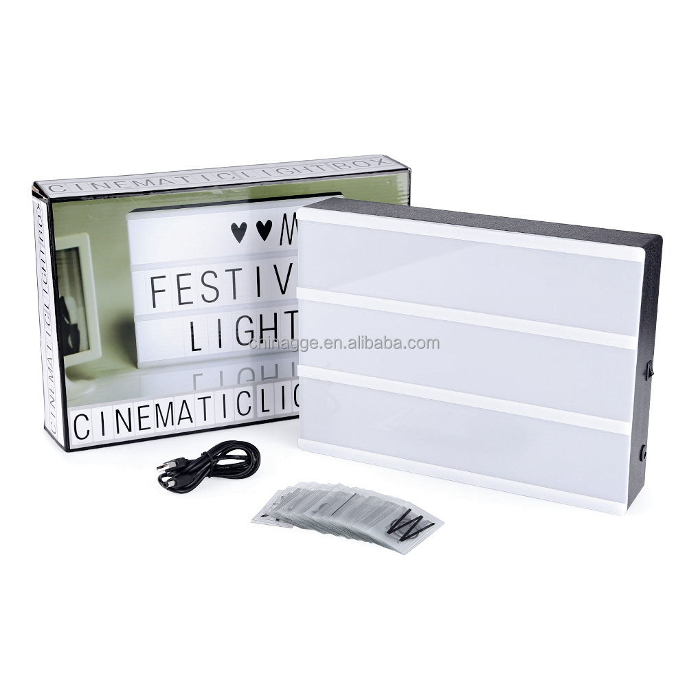 A4 High Quality USB Battery Powered Wedding Sign LED Letter Cinematic Light Box For Home