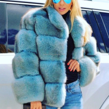 2016 Finland Whole Skin Blue Fox Fur Overcoat Jacket Women Genuine Fur Coat