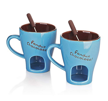 Switzerland popular blue color custom logo cheap mini fondue mugs chocolate fondue warmer