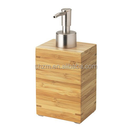 Natural Wooden Bathroom Collection Bamboo Square Bathroom Liquid Soap Dispenser