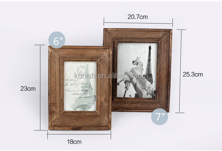 Wholesale Handicraft Household Vintage Wood Photo Frame Standing