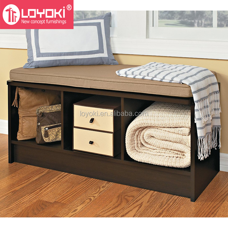 3-Cube Storage Bench with Cushion Seat MDF wood shoe organizer shoe rack home entryway storage bench