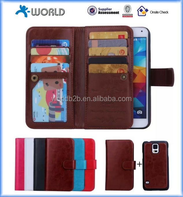 2 IN 1 LEATHER WALLET CASE WITH MAGNETIC DETACHABLE TPU COVER