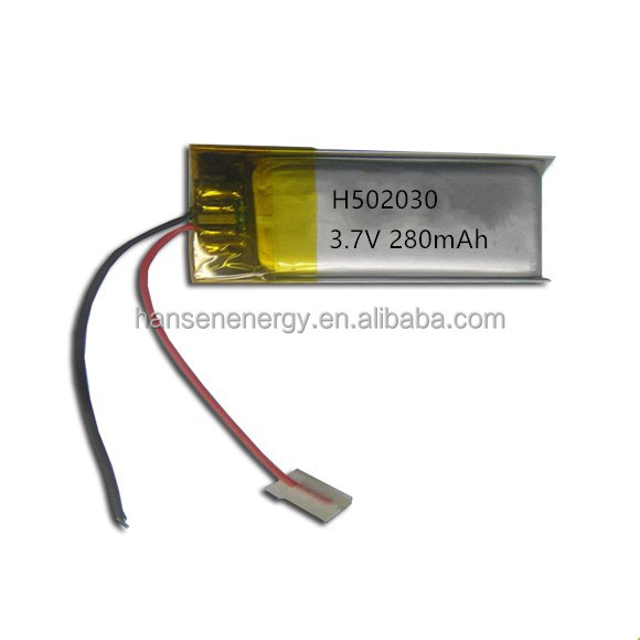 Li polymer battery 502030 3.7v 250mah lithium polymer batteries for bluetooth battery