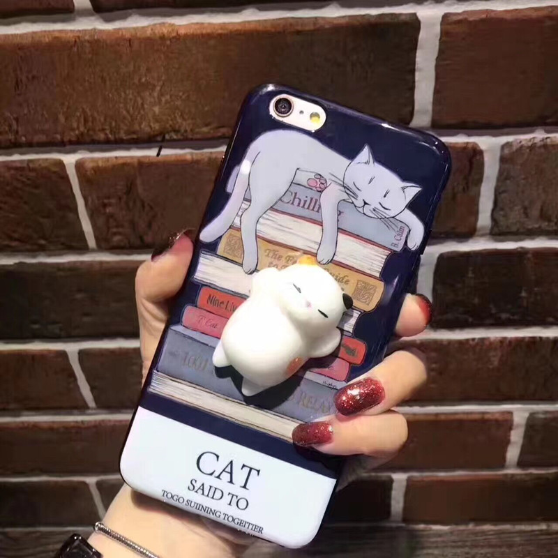 Cute Squishy Cat Phone Case 3D Protective Soft Silicone Squishy Cat TPU Back Phone Case for iPhone 7 /7Plus