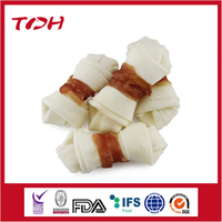 Premium Dog Treats Rabbit Wrap Rawhide Knotted Bone Wholesale Dog Snacks Pet Food Manufacturers
