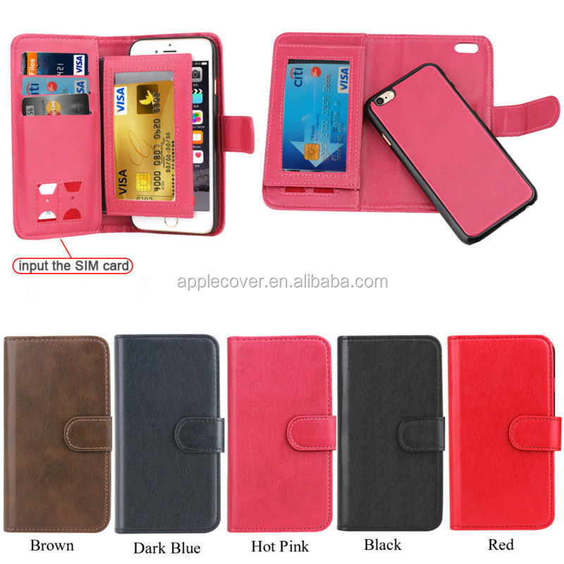 2 in 1 Magnetic Removable Detachable Wallet PU leather case for iPhone 5 With Card Slots , for iphone 5 case leather