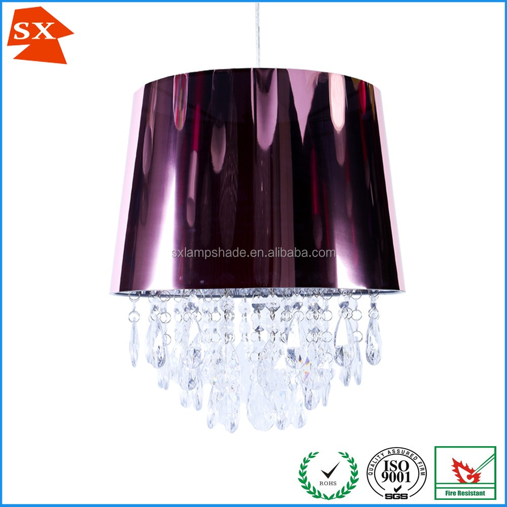luxury purple fluorescent acrylic drop light cover pendant tea party lampshade