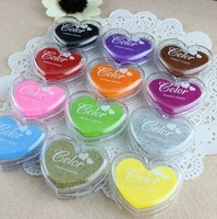 12Colors Mini Heart Shape craft Ink pad Colorful Cartoon Ink pad Ink stamp pad for DIY funny work/Scrapbooking free shipping 111