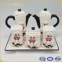 6pcs ceramic salt pepper sauce vinegar sugar jug set cruet set