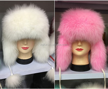 Factory direct dyeing High quality Silver fox fur mongolian hats with fox fur ball Warm ears Leather red cap
