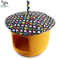Unique Mushroom Shaped Pet Puppy Bed Durable Canvas Dog Cat Houses Cover Removable