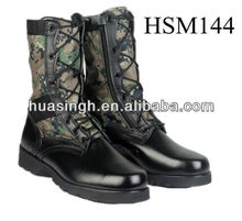 shiny genuine leather+green fabric upper high to help camouflage combat boots