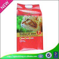 customized four side seal pet food security handle packaging plastic bag