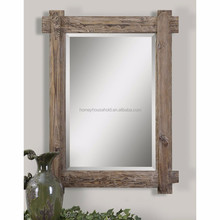 Good sell wooden craft large natural square wall mirror