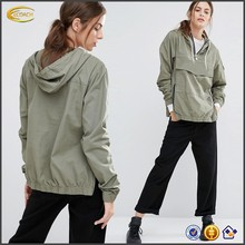 Ecoach Wholesale OEM 2016 Women custom logo Pullover Hooded Jacket Half zip Front pouch pocket side split 100%cotton jackets