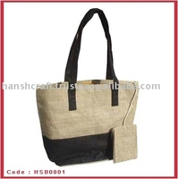 Nature jute and cotton fabric shopping handle bag