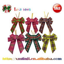 2016 Promotional party /holiday customized plaid ribbon flower for sale