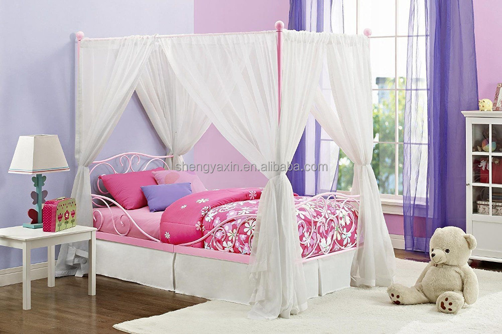 Rosedale style Metal Canopy Queen Bed in White